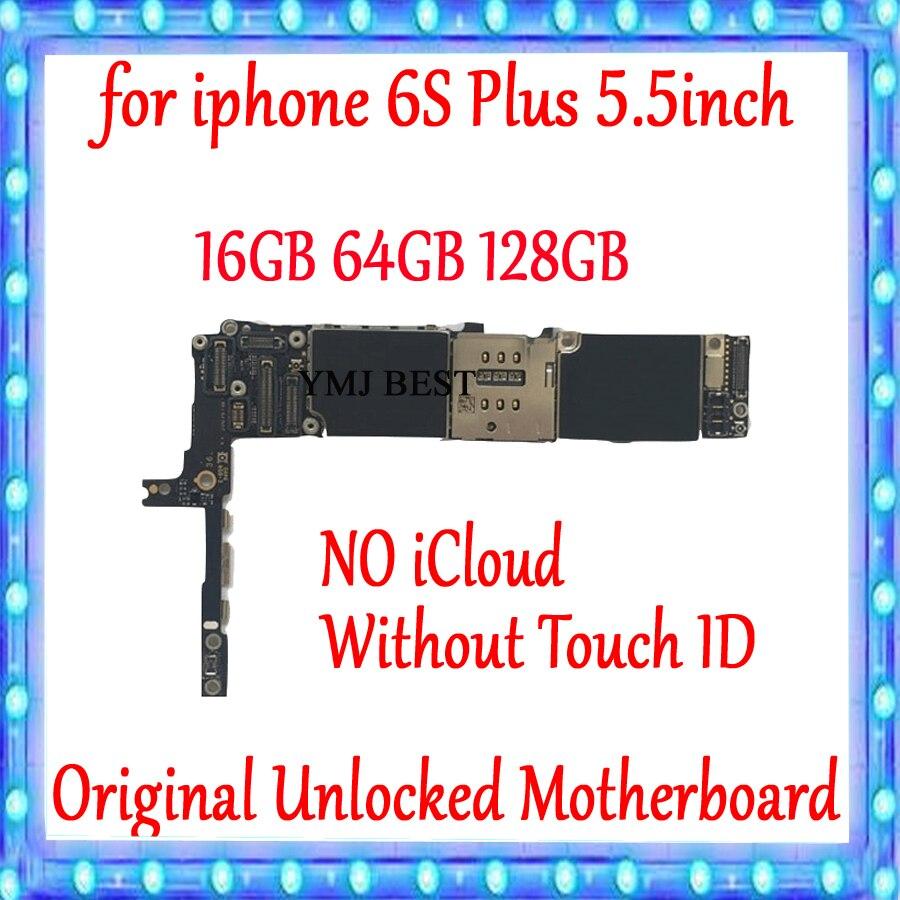 Para el iPhone 6S Plus placa base tablero lógica desbloqueado GB 16GB 64GB 128GB 100% Original para iphone 6S Plus placa base sin Touch ID
