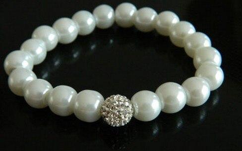 Piedra de los hombres de las mujeres + envío gratis + bola de Disco de regalo de 10mm mvd pulsera de cristal de moda blanca joyería p535