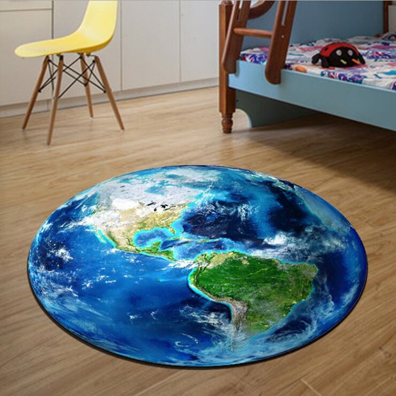 Round Carpet 3D Print Earth Planet Soft Carpets Anti-slip Rugs 40/60/80cm Computer Chair Mat Floor Mat for Kids Room Home Decor