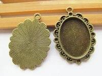 50pcs antique bronze oval frame base setting tray bezel pendant charmfindingborder flower18mmx25mm cabochoncameodiy