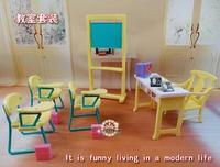 for barbie school Fashion Classroom Blackboard + Chair + Desk School Education Furniture Accessories For Barbie Kelly Sister