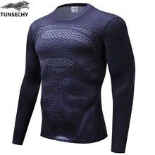 T-shirt de compression à manches longues pour hommes marvel captain america/Ironman/Sipder Man/superman