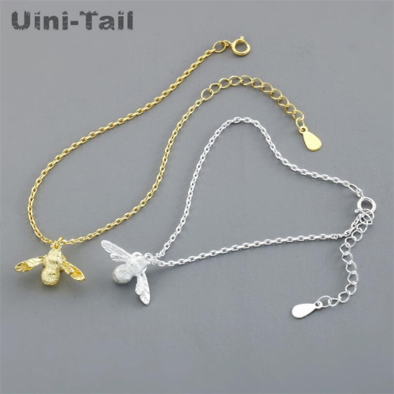 Uini-tail hot new 925 sterling silver temperament cute bee bracelet modelos femeninos moda tide flow alta calidad GN918