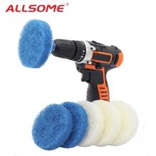 ALLSOME 8 pièces 4 pouces salle de bains cuisine perceuse nettoyage brosse gommage tampons tampon à récurer pour baignoires tuile HT2342