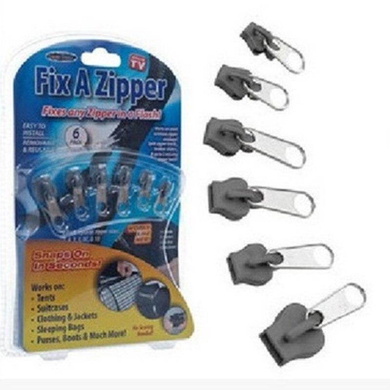 6 teile/beutel Universelle Instant Fix Zipper Reparatur Kit Ersatz Zip Slider Zähne Rettungs Neue Design Reißverschlüsse Für Nähen Kleidung