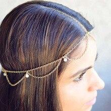 Indien perle tête bijoux chaîne de cheveux femmes eau vague tête chaîne pour mariage perles blanches chaîne tête bijoux