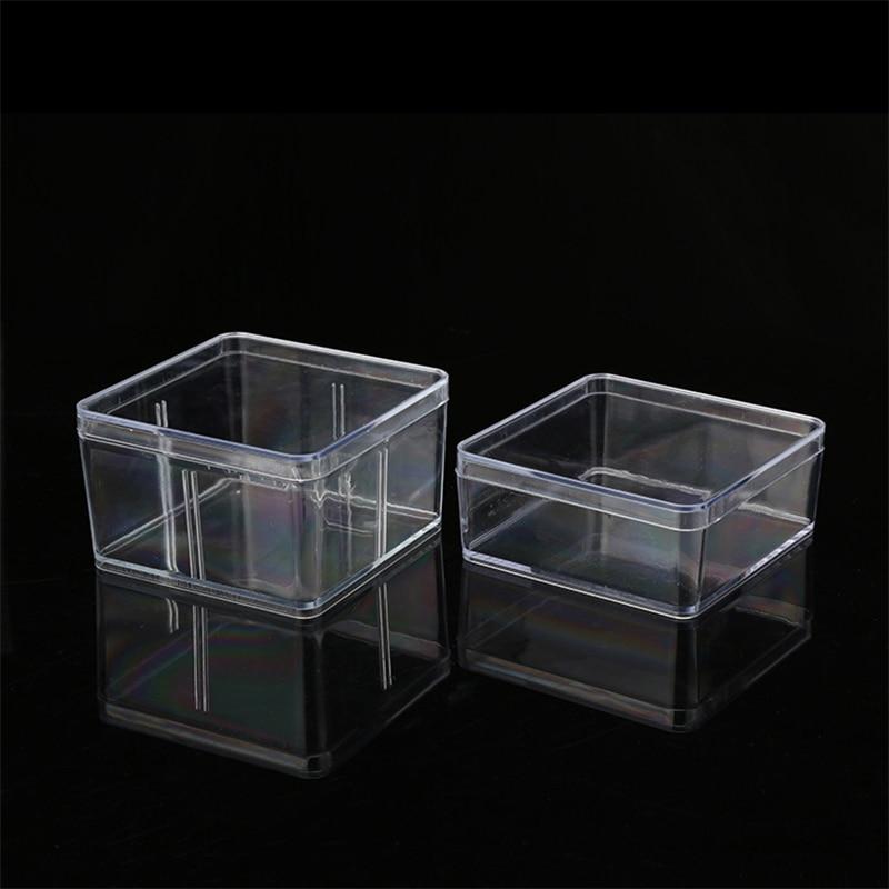 Quadrado pequeno lanche Caixa De Plástico Transparente De Armazenamento Para Jóias com Diamantes Bordados Artesanais Talão Pílula Armazenamento Doméstico de Abastecimento