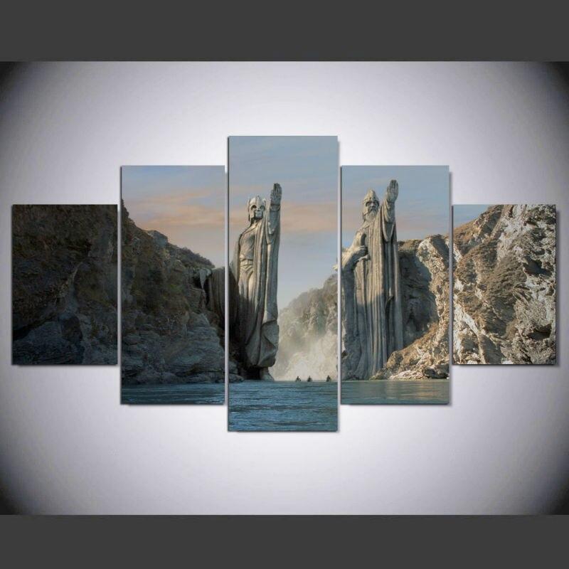 5 Pcs/Set Framed HD Printed Wall Art The Argonath Gates Of Gondor Anduin Movie Canvas Print Painting Home Decoration