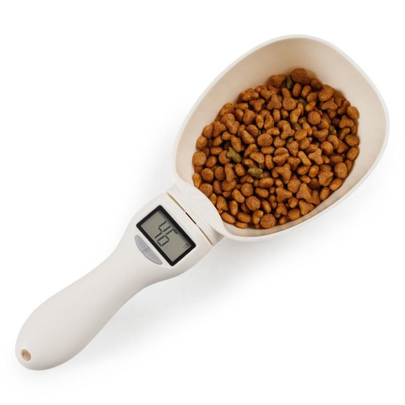 800 გ / 1 გ შინაური ცხოველის საკვების სასმისი ჭიქისთვის ძაღლებისა და კატების საკვების ჭურჭლისთვის, სამზარეულოს სასწორის კოვზი, პორტატული LED ეკრანით