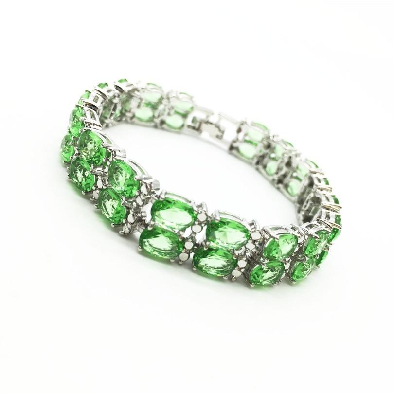 Pulseras y brazaletes 2017 Nuevo diseño colorido AAA manzana verde zirconia pulsera oro blanco mujer pulsera joyería de moda