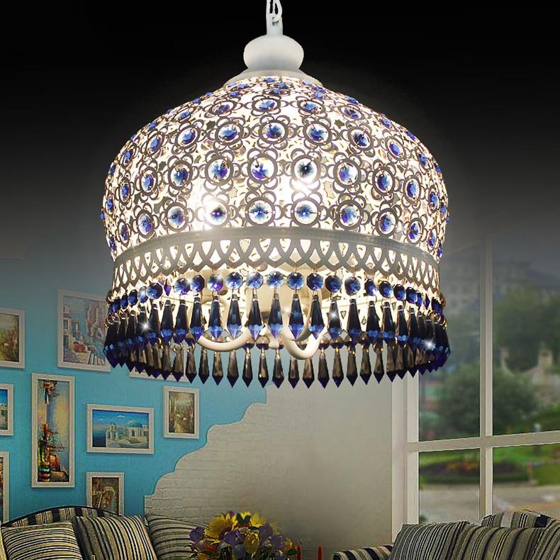 Pendiente Mediterráneo luces Lámpara colgante de hierro de cristal bohemio. Bombillas LED E27, lámpara de techo, iluminación de Bar residencial