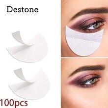 Destone-almohadillas para sombra de ojos, 100 Uds., plantillas sin pelusa, para colocar debajo de los ojos, parches de sombra de ojos para extensiones de pestañas/MAQUILLAJE de labios profesional