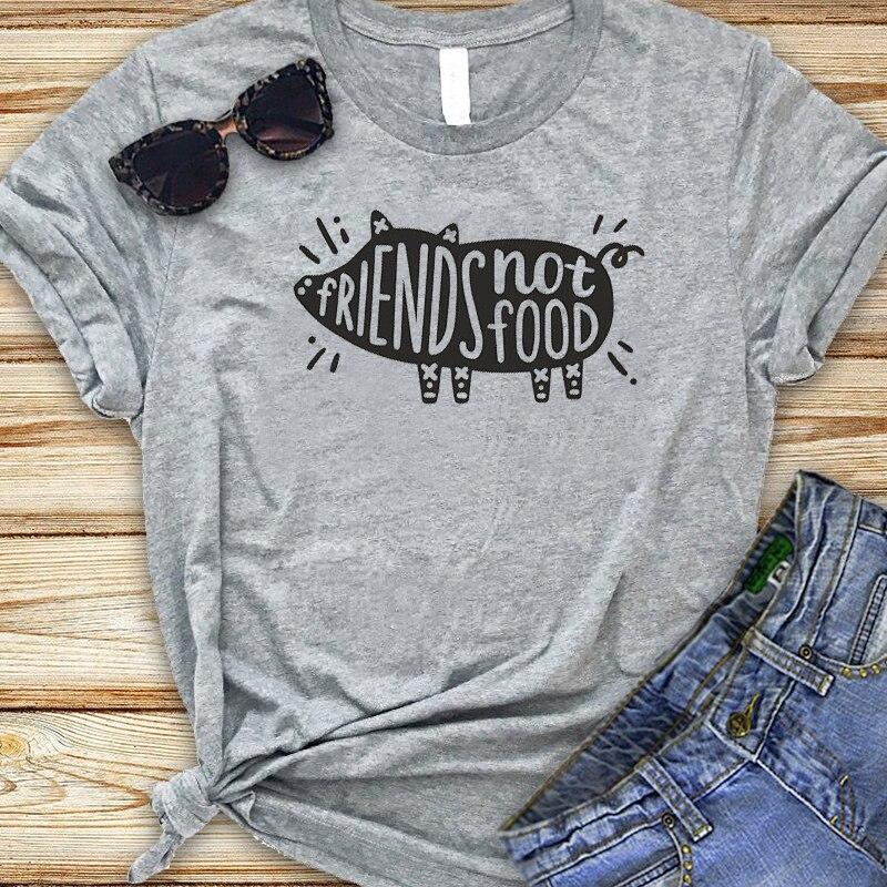 Friends Not Food Women T-shirt Harajuku Kawaii Vegan Tee Shirt Femme Funny Pig Graphic Tops Summer Cotton Tshirt Drop Shipping