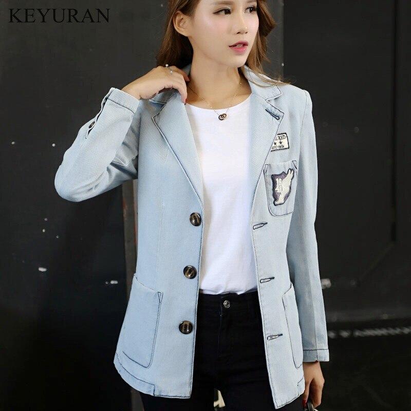 New Female spring denim suit collar coat 2019 Slim fashion Single-breasted high quality Women denim suit jacket Cowboy clothing