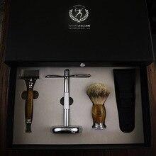 Ensemble de rasoir Titan avec dessus de rasoir de sécurité en bois de santal vert naturel, poils de blaireau argenté avec emballage cadeau