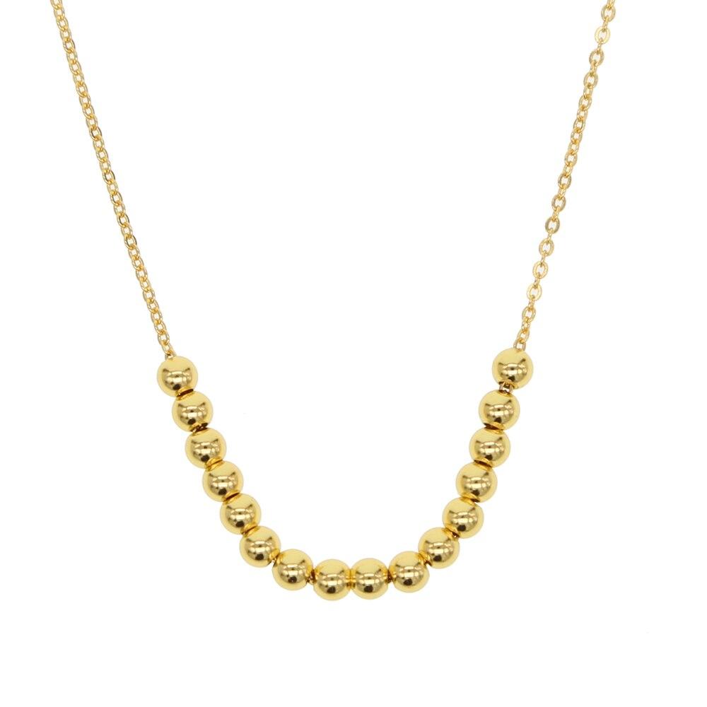 Color dorado flotante liso hueco cuentas collar simple moda mujer joyería