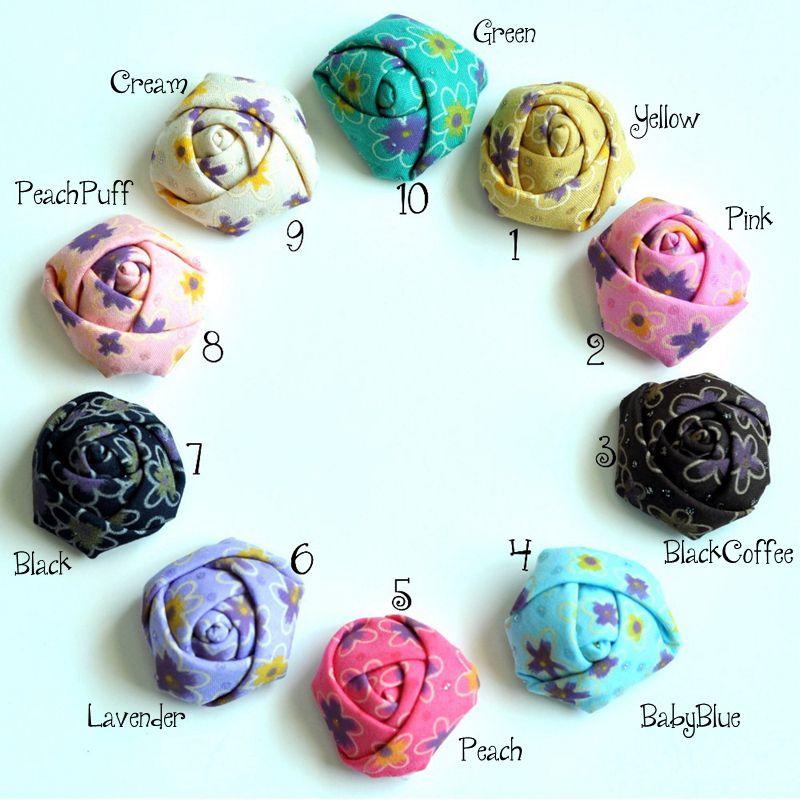 "120 piezas 1,5 ""10 colores nueva cinta enrollada tela Rosettes para accesorios para el cabello Mini satén Rosa Flores para diadema"