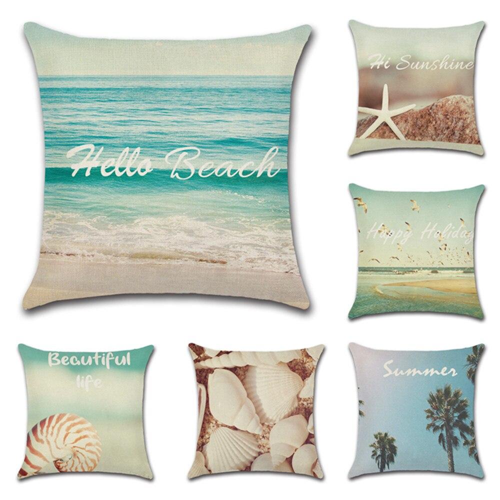 Praia Seaside Paisagem Fronha Tema Hawaii 45x45 centímetros Fronhas Capa de Almofada de Linho Verão Para Home Decor