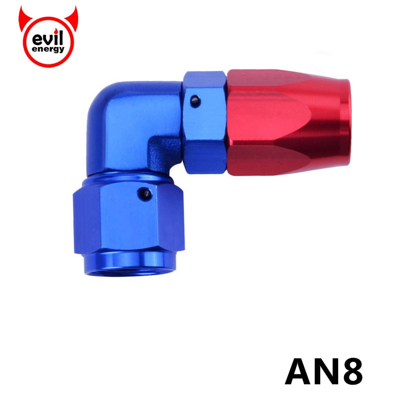 evil energy AN8 90 Degree Enforced Hose End Oil Fuel Line Adapter Aluminum Fitting Oil Cooler Hose Fitting Fitting Hose End