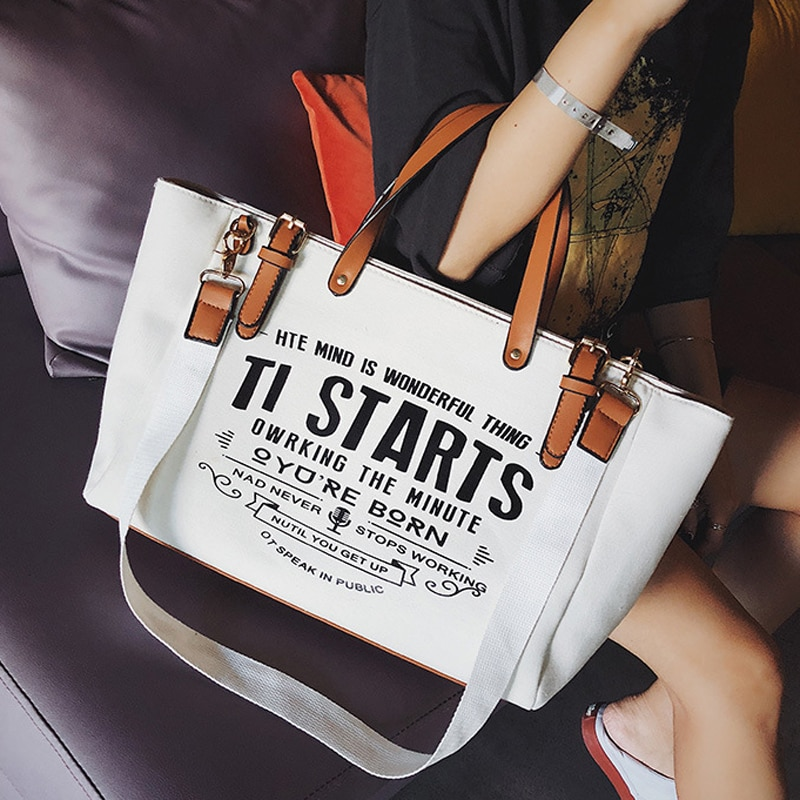 2020 New Woman Tote Bag Fashion Letter Big Capality Canvas Bag Casual Shoulder Messenger Bags Unisex Patchwork Shopping Bag fashion leather woman bag new girl small party bag casual shoulder bag fashion wide strap woman messenger bag free shipping