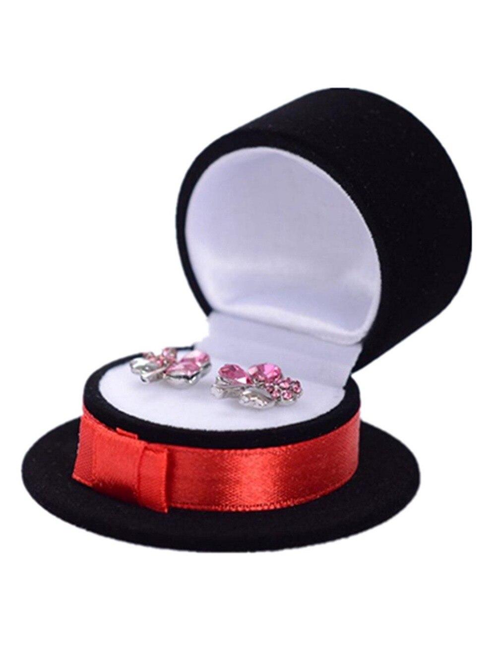 Caja de anillo con forma de sombrero de 5 uds pendientes preciosos caja de muestra de regalos de terciopelo elegante caja de joyería collar negro rojo 6x6x3.5cm