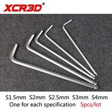 5pcs/set XCR3D 3D Printer Parts Long Ball Head Inside Hexagonal Small Wrench Hexagon Wrench DIY Machine Tool 1.5 2 2.5 3 4mm