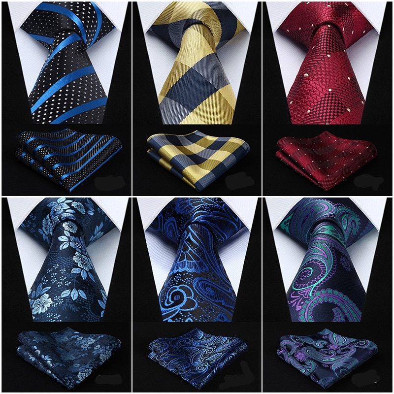 "Check 3,4 ""seda moda hombres corbata Extra larga conjunto de pañuelo y corbata # G1 bolsillo cuadrado clásico fiesta boda"