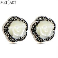 metjakt natural shell stud earrings white rose earrings with zircon solid 925 sterling silver jewelry for women and girl