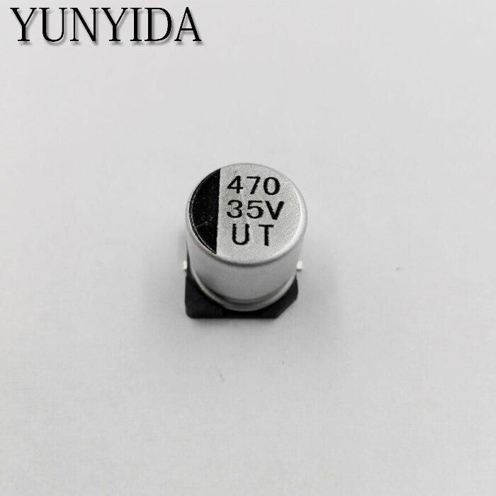משלוח חינם 10 יחידות SMD 10 V 16 V 25 V 35 V 50 V 100 UF 220 UF 150 UF 220 UF 330 UF 470 UF 1000 UF SMD אלומיניום אלקטרוליטי Capacitor