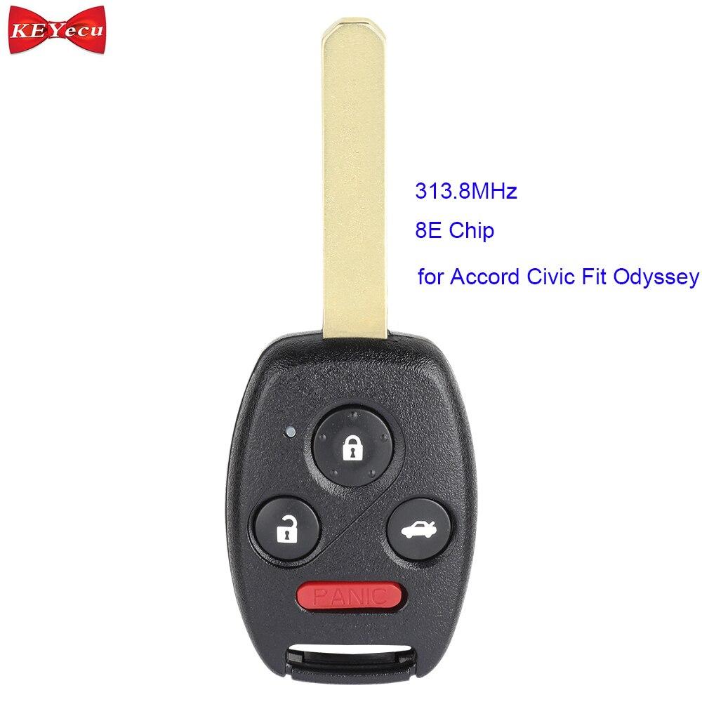 Keyecu para honda accord civic caber odyssey 2005 2006 2007 controle remoto carro chave fob 313.8 mhz 8e chip