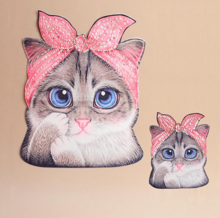 Wyszywany wzór kota cekiny łaty do naszycia na T-shirt spodnie haftowane naszywki odzież dekoracje akcesoria akcesoria