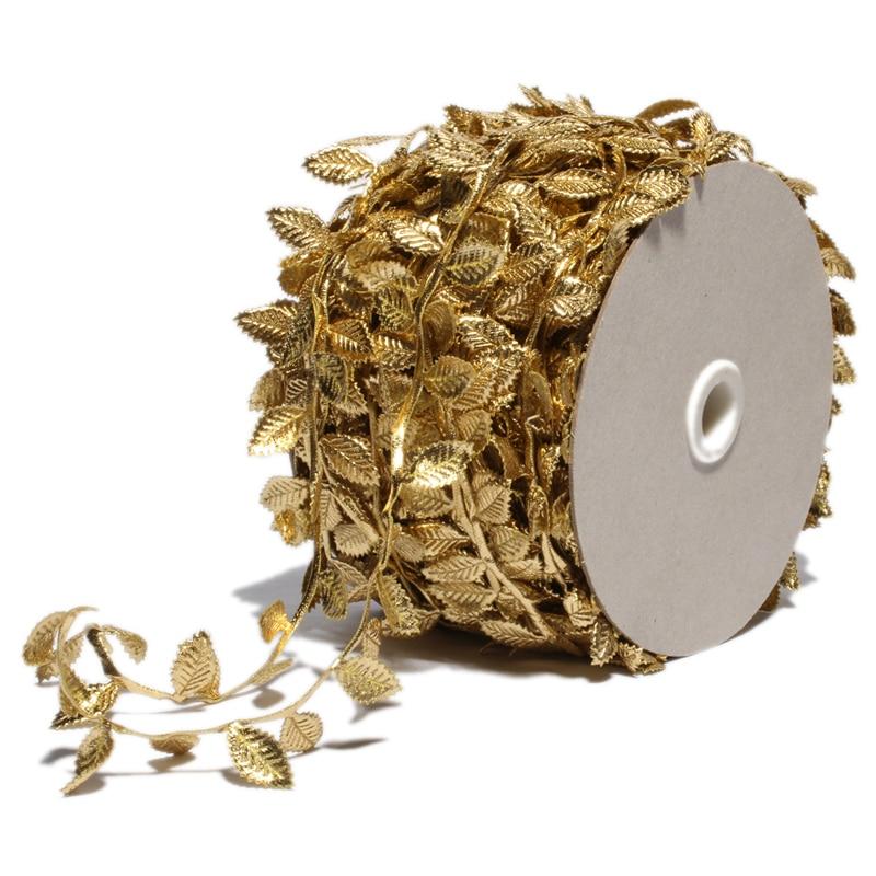 50 Mt/paket 4 CM Mode Neugeborenen Gold Blätter Spitze Stretch für Mädchen Haarschmuck Silber Blume Blatt Trim Band für kleidung