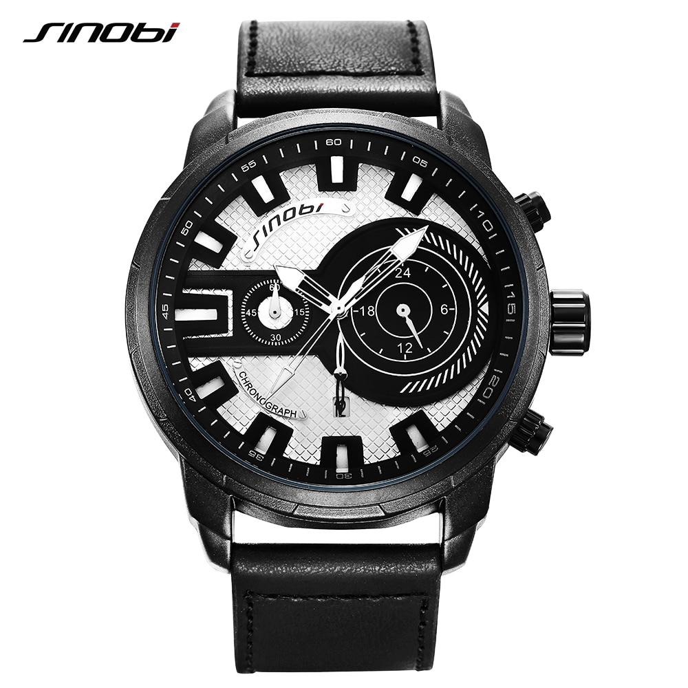 Men's Watch SINOBI Top Brand Luxury Sport Watch Men Watch Chronograph Waterproof Luminous Fashion Men's Wrist Watches Male Clock
