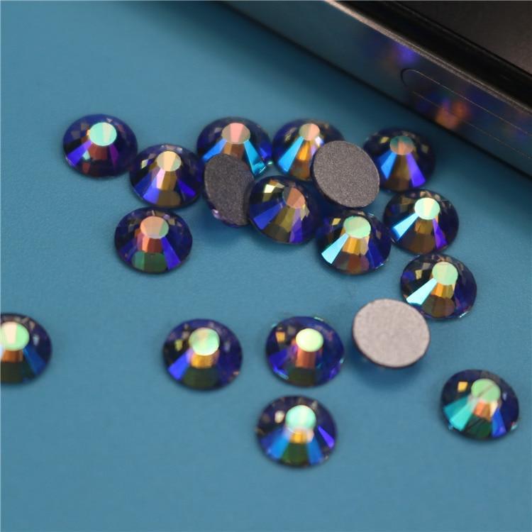 1440pcs/lot Tanzanite AB FlatBack Strass Nail art Rhinestone 3D Glass Round Crystal Stones For DIY Nails Decorations Charms