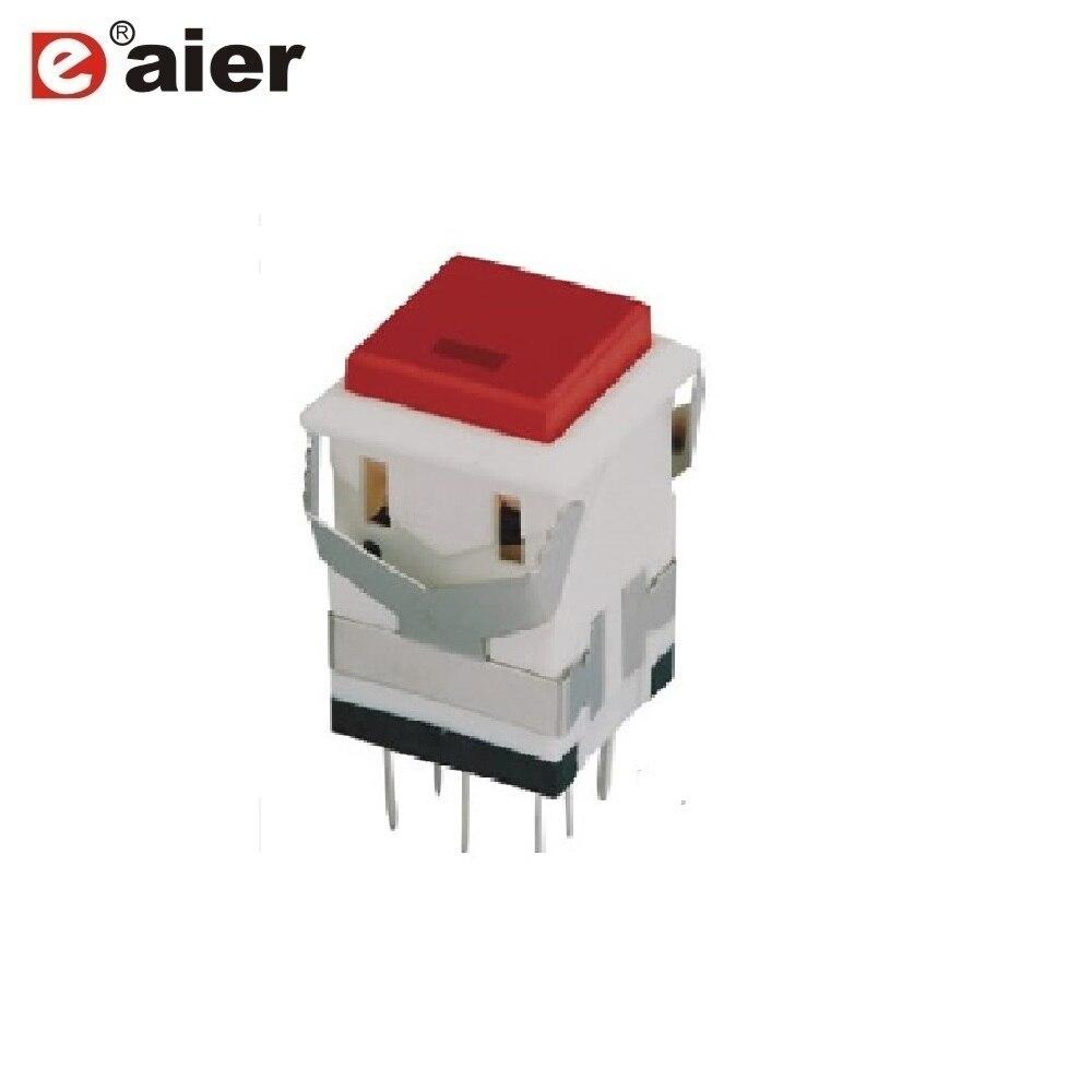 100 шт., Красный квадратный выключатель света с двумя кнопками, 3 в, KD2-22