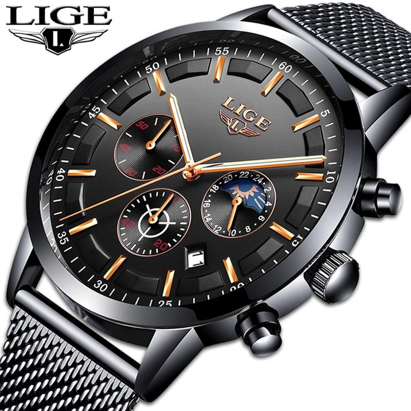Relogio LIGE New Mens Watches Top Brand Luxury Casual Quartz Wristwatch Men Fashion Stainless Steel Waterproof Sport Chronograph