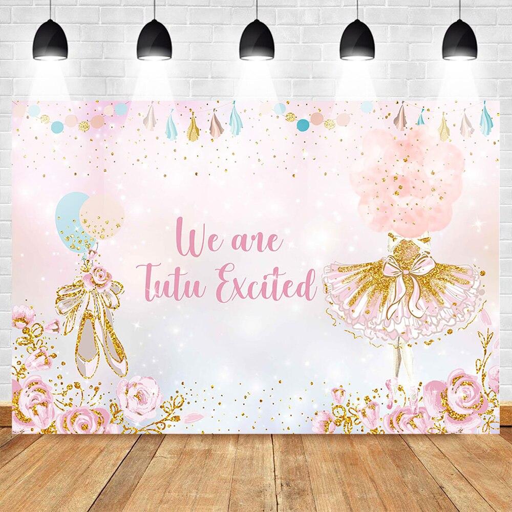 Fondo con tema de Ballet para fotografía photocall Fondo De Cumpleaños Ballet Rosa traje de zapatos Banner de fiesta de flores