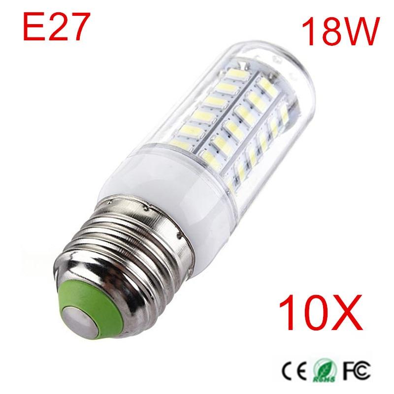 High Power LED Lâmpada E27 18 W 56 LEDs SMD5730 LED Milho Lâmpada de Iluminação AC220V/230 V/240 V Branco Quente/Frio White LED Candel DIODO EMISSOR de luz 10 PCS