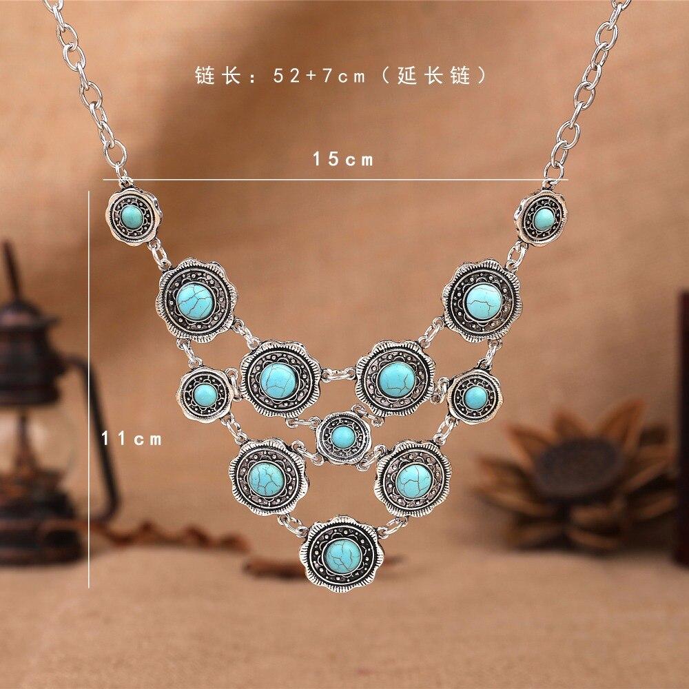 Wholesale Tibetan Silver necklace Women  bohemian Blue Multiple statement Natural Pendant Necklace Long Necklace Sweater Chain