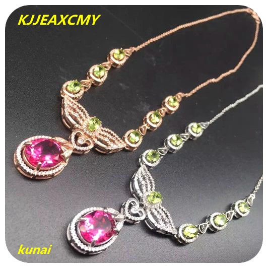 KJJEAXCMY boutique jewels 925 Plata pura, collar de topacio natural azul loto polvo gota mujer cadena colgante enviar cadena