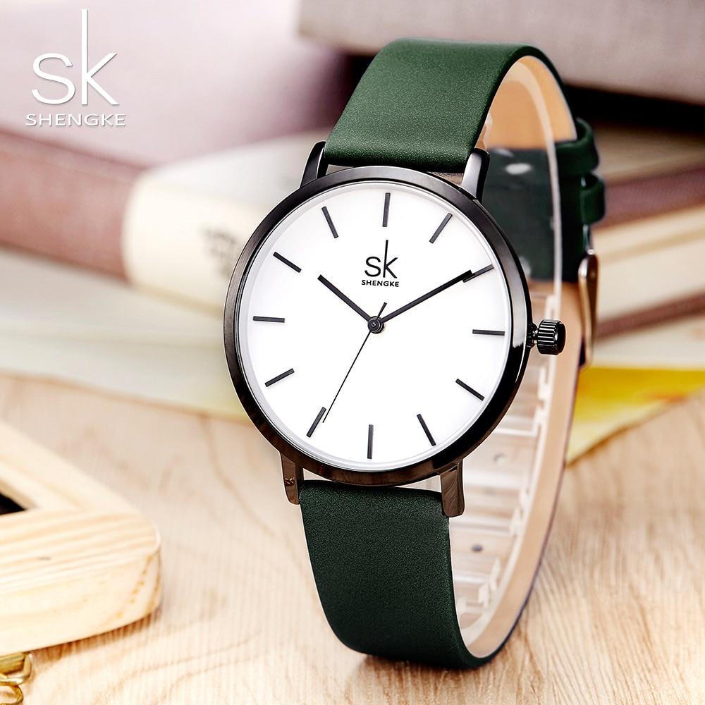 Женские кварцевые часы Shengke, повседневные Модные Аналоговые наручные часы с кожаным ремешком в японском стиле, креативный дизайн, Reloj Mujer