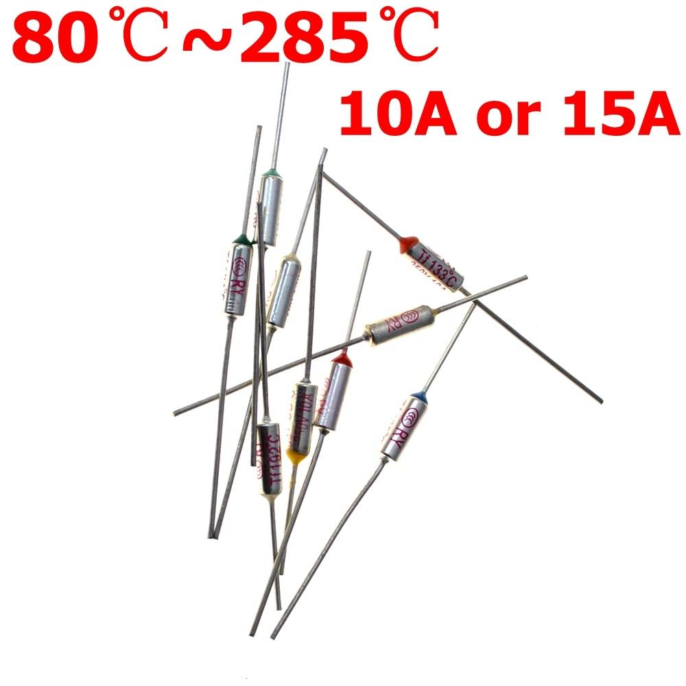RY TF 15A 10A 250V тепловой предохранитель, электрическая температура 80C 100C 121C 240C 216C 192C 172C 167C градусов по Цельсию