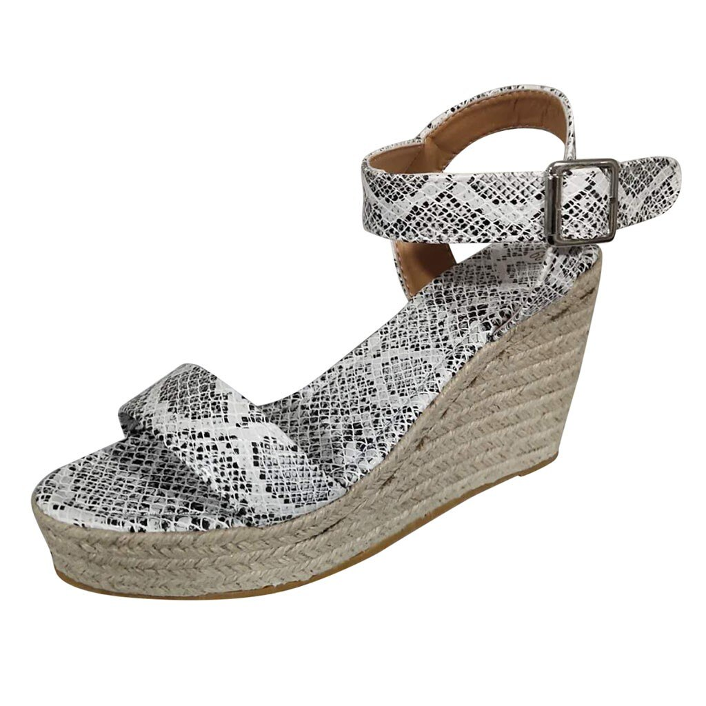 Sandals Women Summer Fashion Snake Pattern Shoes Retro Weave Sandals High Heel Platform Open Toe Wedges Sandals Sapato Feminino gdgydh sexy rivet women sandals soft leather pu high chunky heel sandals black platform shoes female open toe party shoes summer
