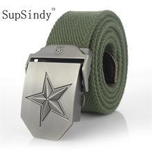 SupSindy-ceinture en toile pour hommes   Ceinture de luxe, célèbre marque militaire, jeans, ceintures en trois dimensions à cinq points, star vert armée 120cm