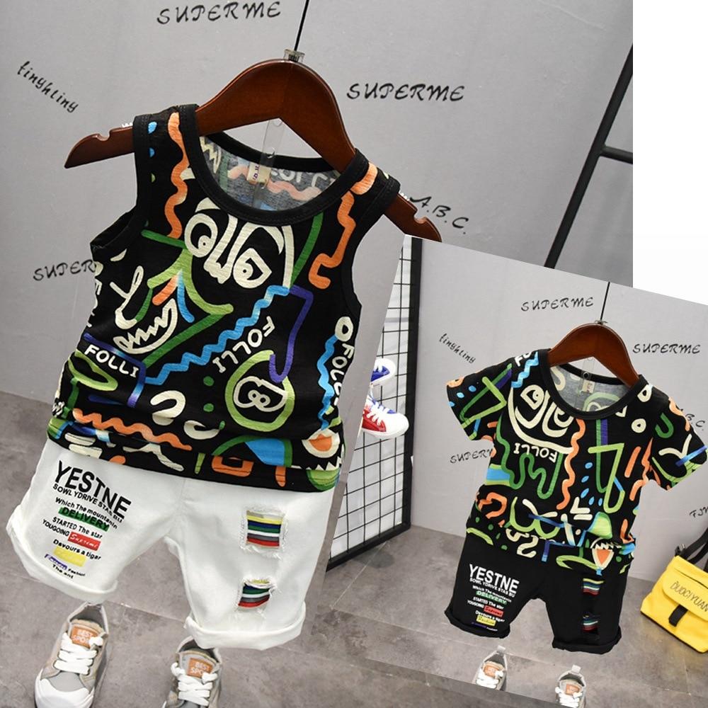 Niño ropa de niños conjunto ropa deportiva verano Flor de impresión de conjunto de ropa T-Shirt + Denim agujero pantalones Niños Niñas Ropa chándal