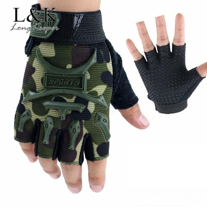 Guantes tácticos sin dedos para niños de 4 a 12 años, Camuflaje...