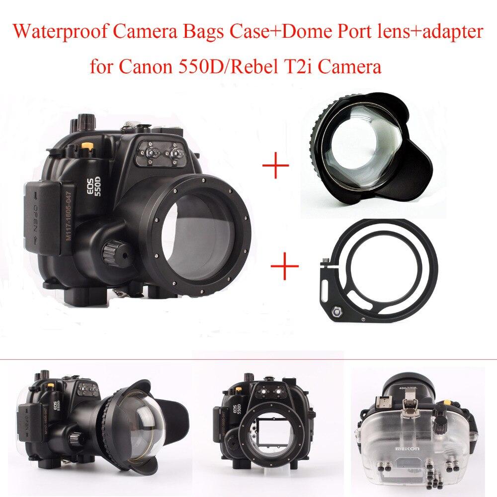 Meikon, funda carcasa para cámara bajo el agua para cámara Canon 550D/Rebel T2i, bolsas de cámara a prueba de agua, funda + lente de puerto de cúpula + adaptador