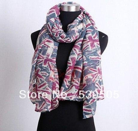 Moda mujer Reino Unido bandera estampado bufanda diseño cálido bufanda grande chal suave cuello