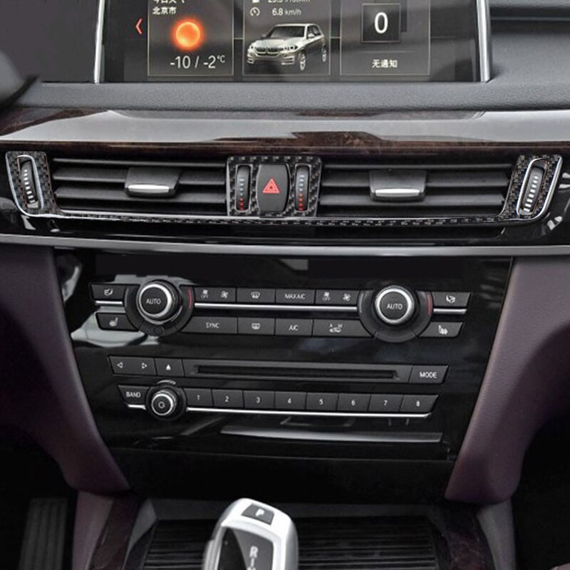 Carbon Fiber Car Interior Center Control Air-conditioner Outlet Frame Cover Decoration Stickers For BMW F15 X5 F16 X6 2014-2017