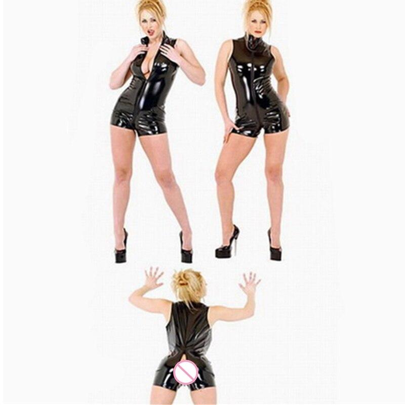 Mono de cuero negro Sexy para mujer de estilo corto, ropa de Club de látex, ropa de PVC, Catsuits, productos sexuales M7065